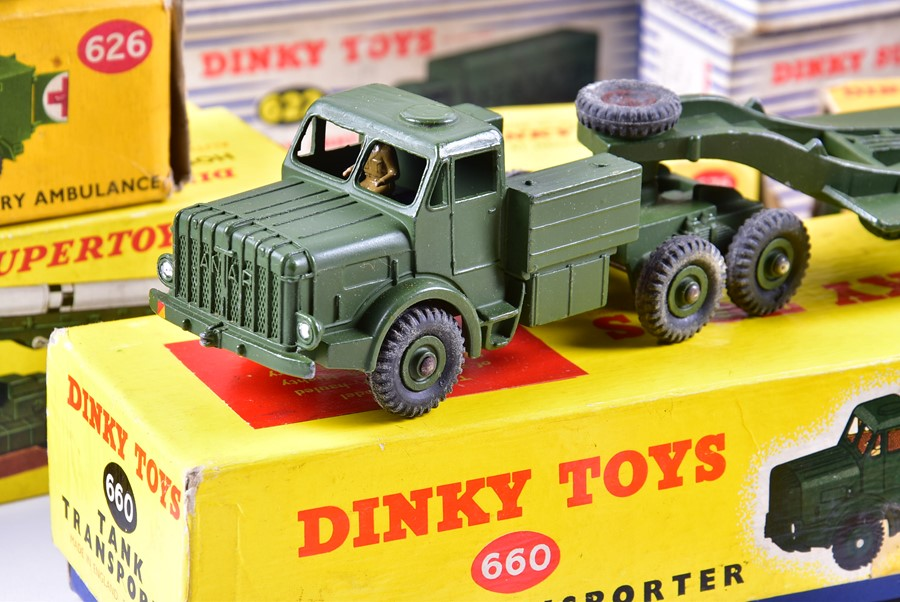 Lot 72 - A collection of twenty boxed Dinky Supertoys Military vehicles to include 660 Tank Transporter (x2),