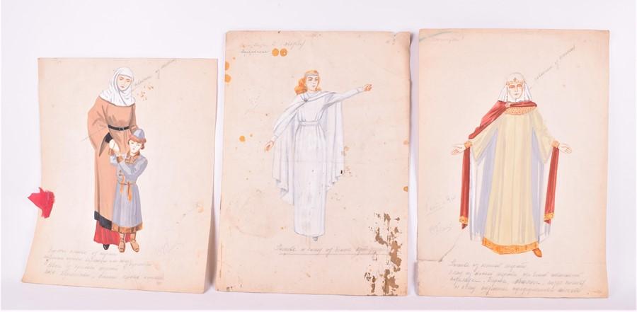 Natalia Goncharova (1881-1962) Russian Three mid-20th century original watercolour costume designs