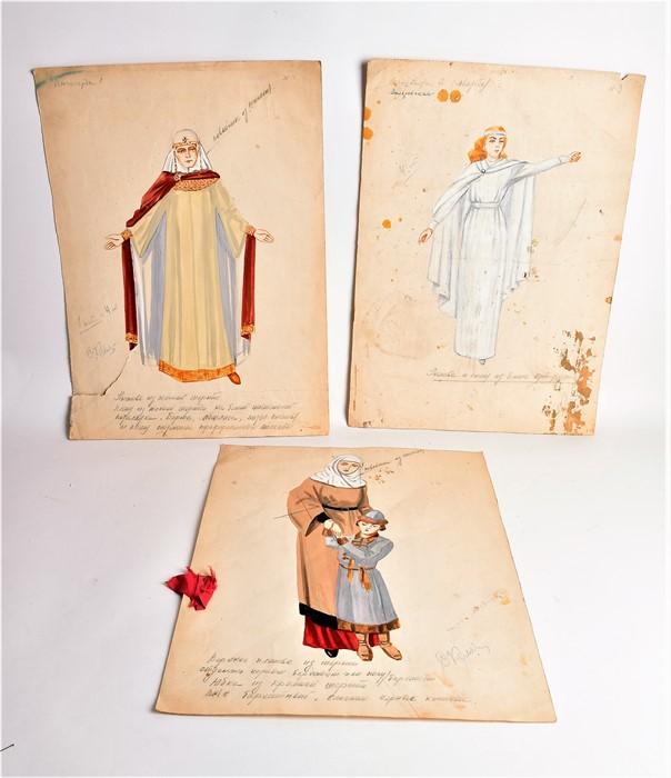 Natalia Goncharova (1881-1962) Russian Three mid-20th century original watercolour costume designs - Image 2 of 17