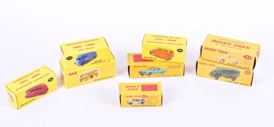 Lot 80 - A collection of eight Dinky reproduction diecast vehicles in later boxes comprising: 197 Morris