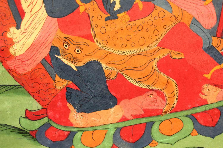 Lot 52 - Thangka, China / Tibet alt. Wohl Che- Mchog Heruka.80,5 cm x 50,5 cm. Gemälde.Thangka, China / Tibet