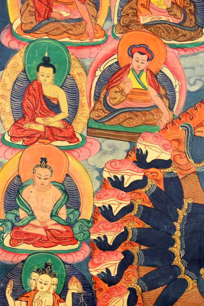 Lot 41 - Thangka, China / Tibet alt. Wohl Yamantaka.51 cm x 43,5 cm. Gemälde.Thangka, China / Tibet old.