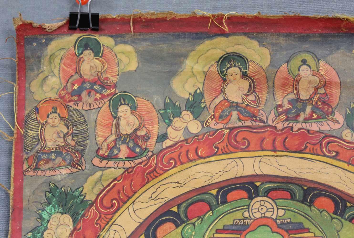 Lot 60 - Mandala / Thangka, China / Tibet alt.42,5 cm x 33 cm. Gemälde. Der Lahsa Palast. Deutlich zu