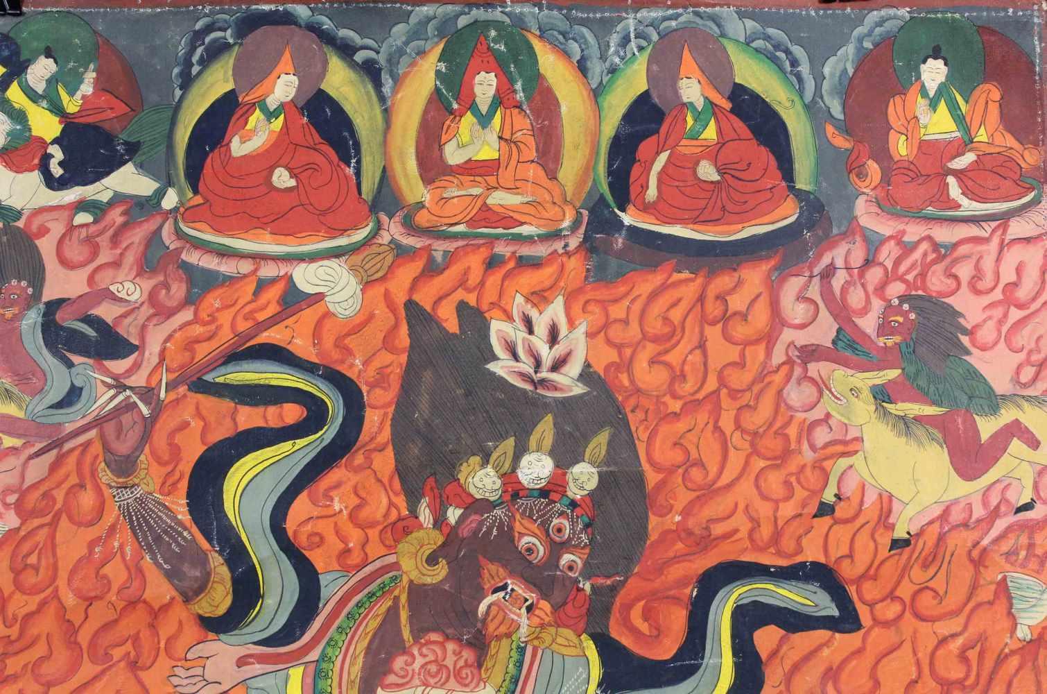Lot 23 - Palden Lhamo Thangka, China / Tibet alt.64 cm x 45,5 cm. Gemälde.Palden Lhamo Thangka, China / Tibet