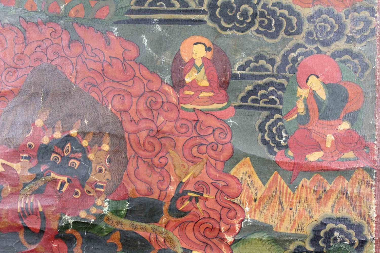 Lot 42 - Yama ? Thangka, China / Tibet alt.68 cm x 47,5 cm. Gemälde.Yama ? Thangka, China / Tibet old.68 cm x