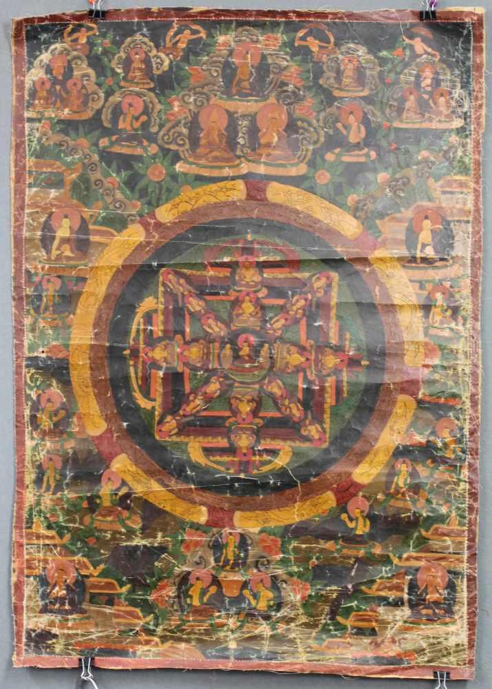 Lot 51 - Mandala, China / Tibet alt. Die 3 Architekturkreise mit Aufrissbestandteilen.79 cm x 56 cm. Gemälde.