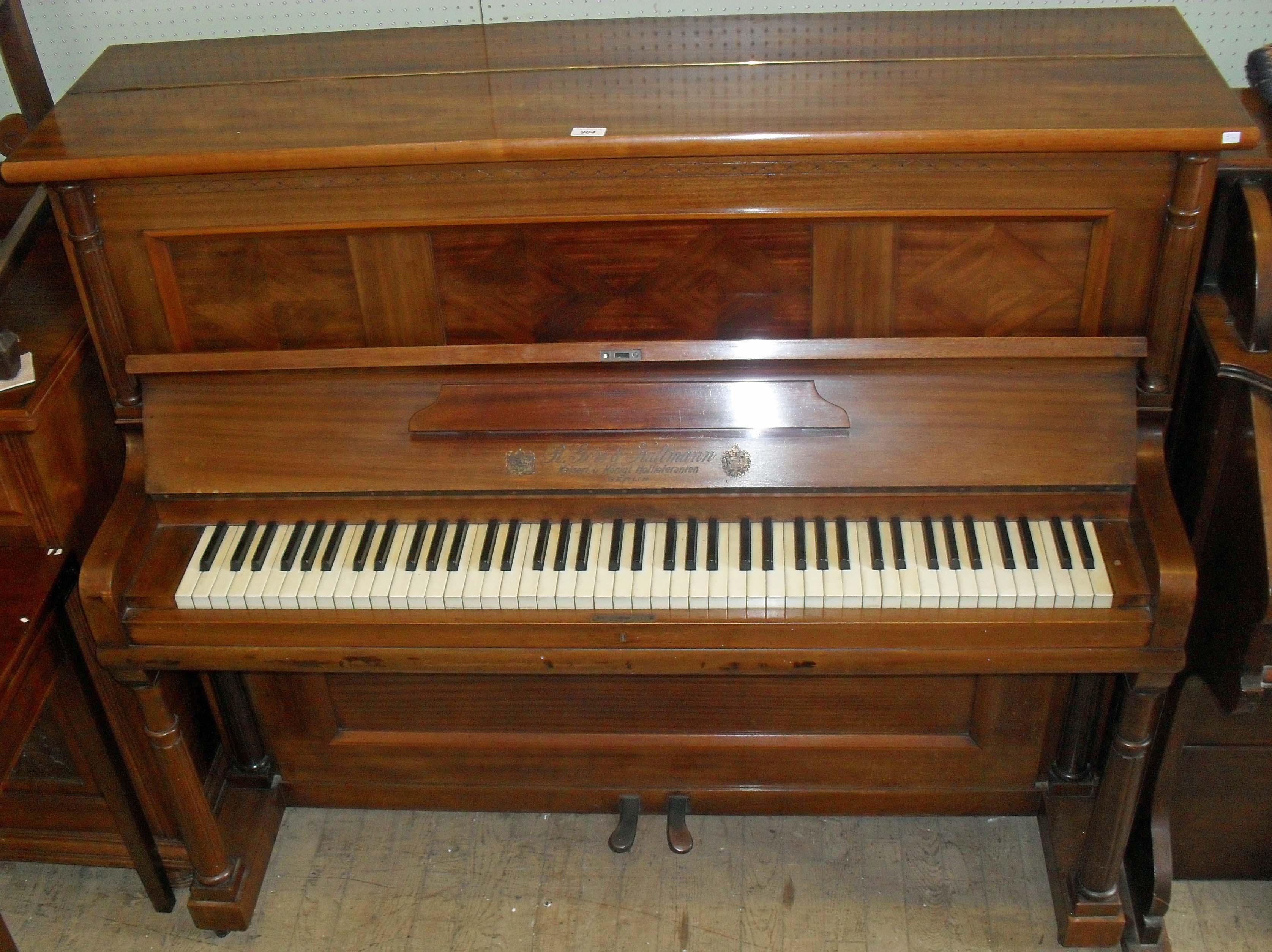 a r gors kallmann of berlin mahogany cased upright piano. Black Bedroom Furniture Sets. Home Design Ideas