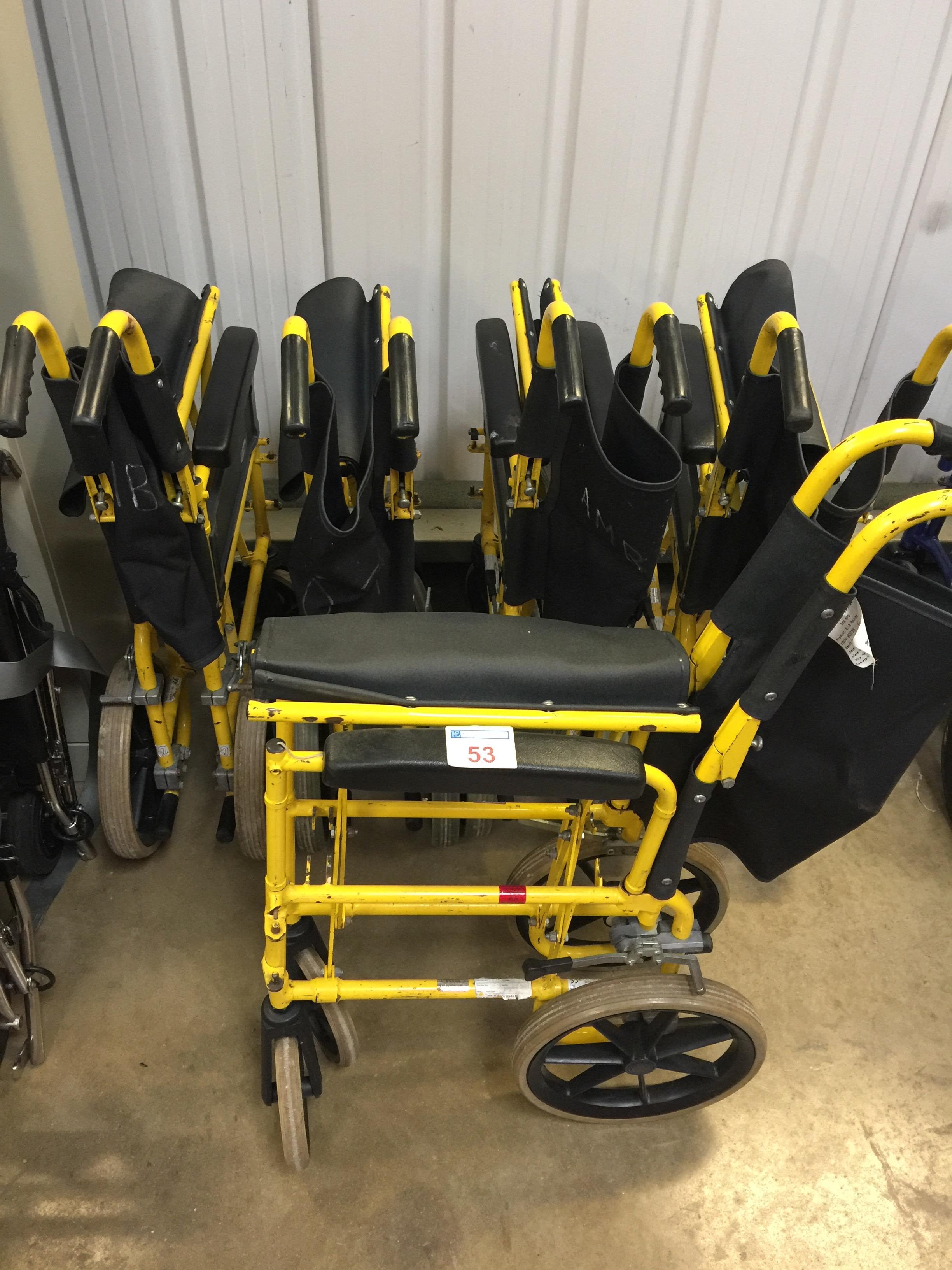 Lot 53 - 5 Folding transit wheelchairs