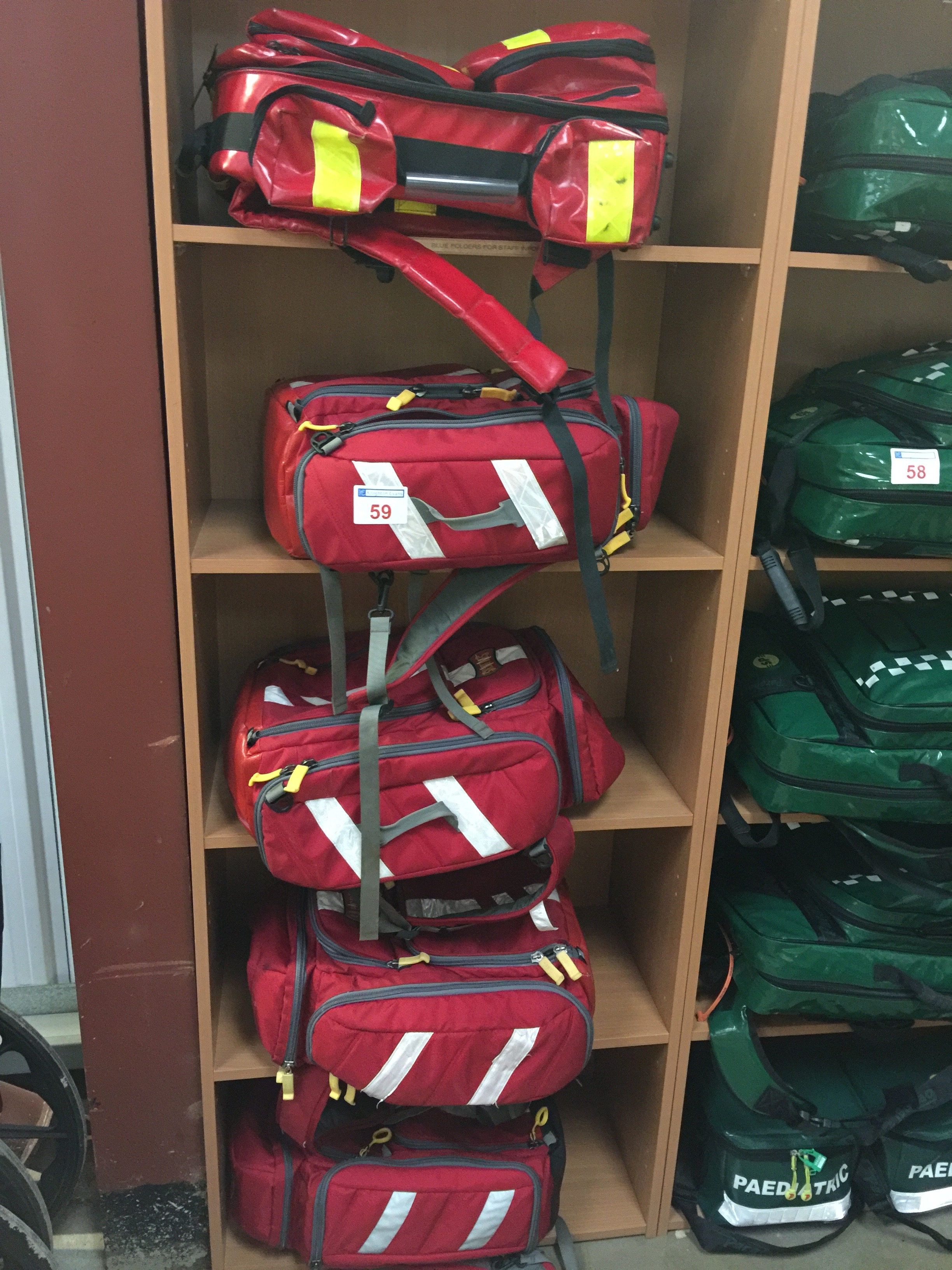 Lot 59 - 5 red Paramedic back-pack/bags
