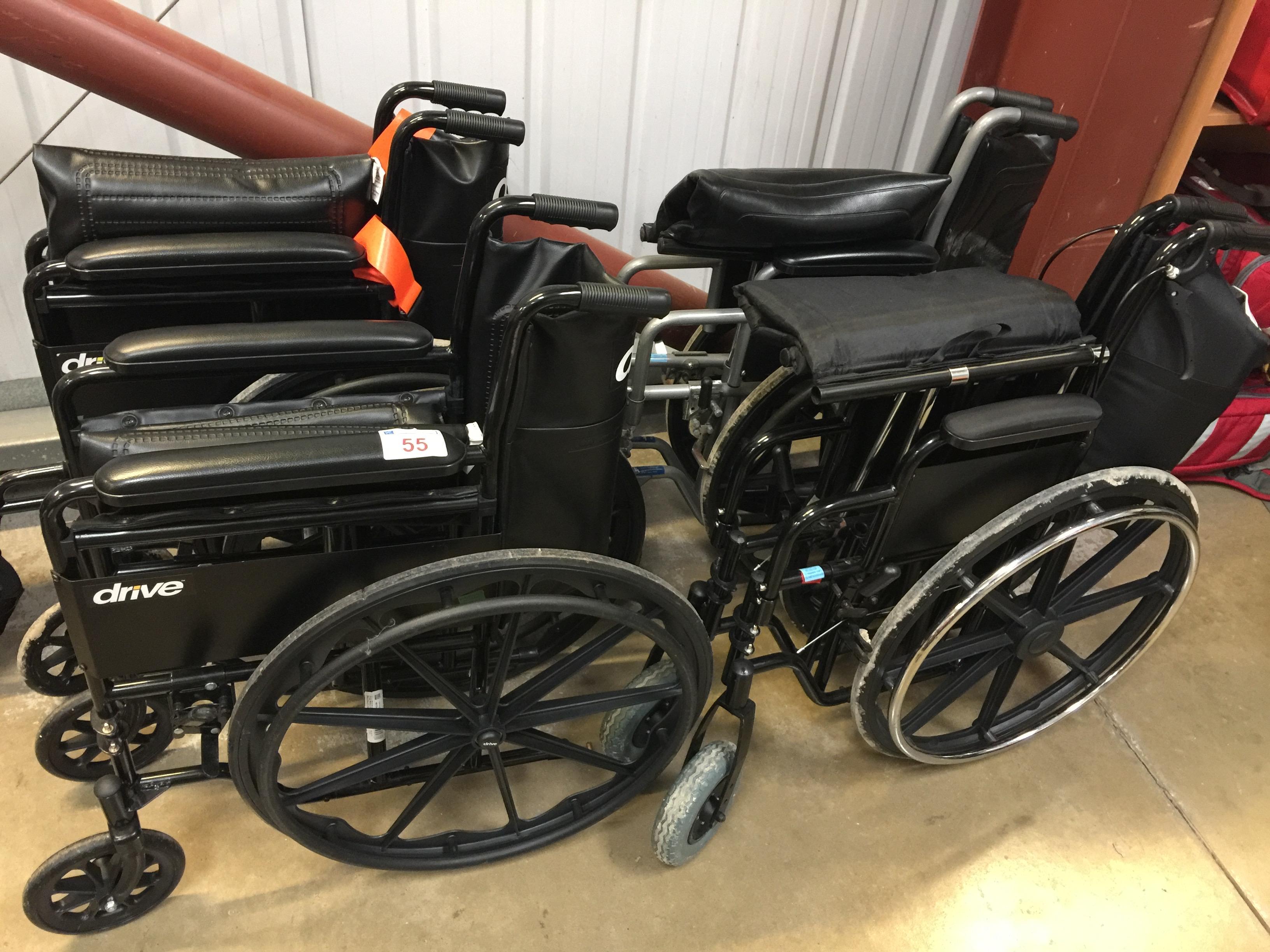 Lot 55 - 4 folding manual wheelchairs