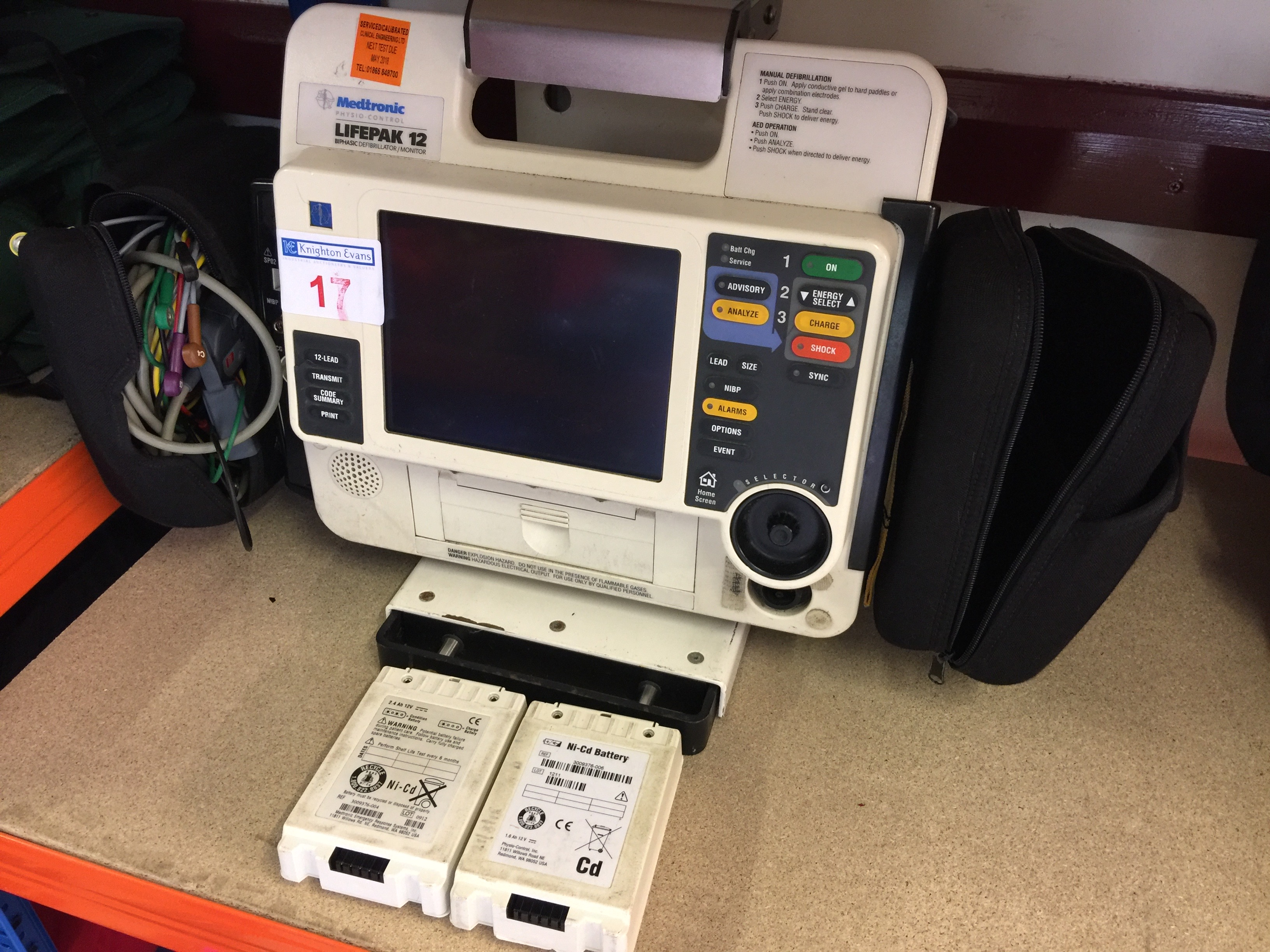 Lot 17 - Medtronic Physio Control Life-Pak 12 portable defibrillator with wall bracket, charger and
