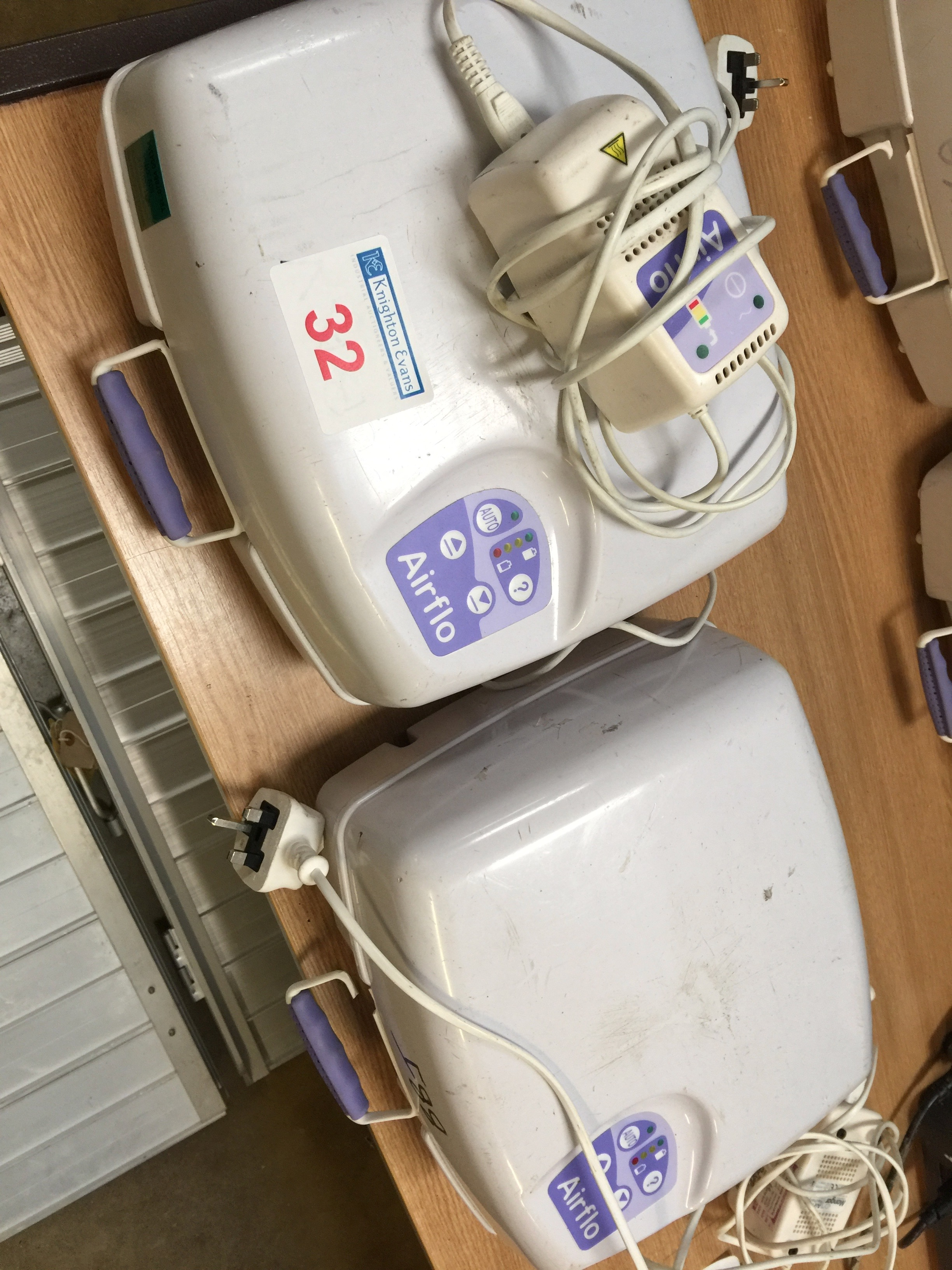 Lot 32 - 2 Mangar Air-Flow Mk2 cushion compressors with PSU/Chargers