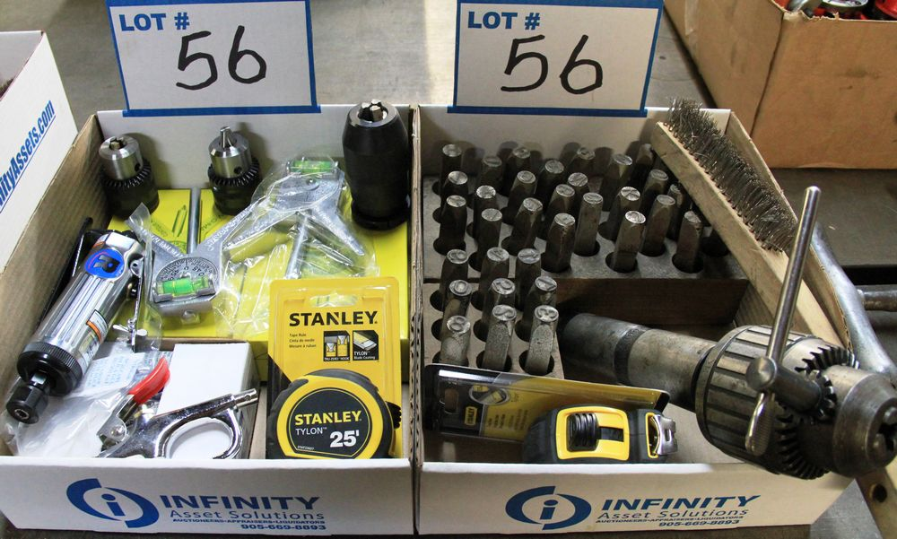 Lot 56 - LOT, (2) BOXES DRILL BIT CHUCK, LETTER & NUMBER STAMPING SETS, NEW DIE GRINDER, CONTOUR MARKERS,
