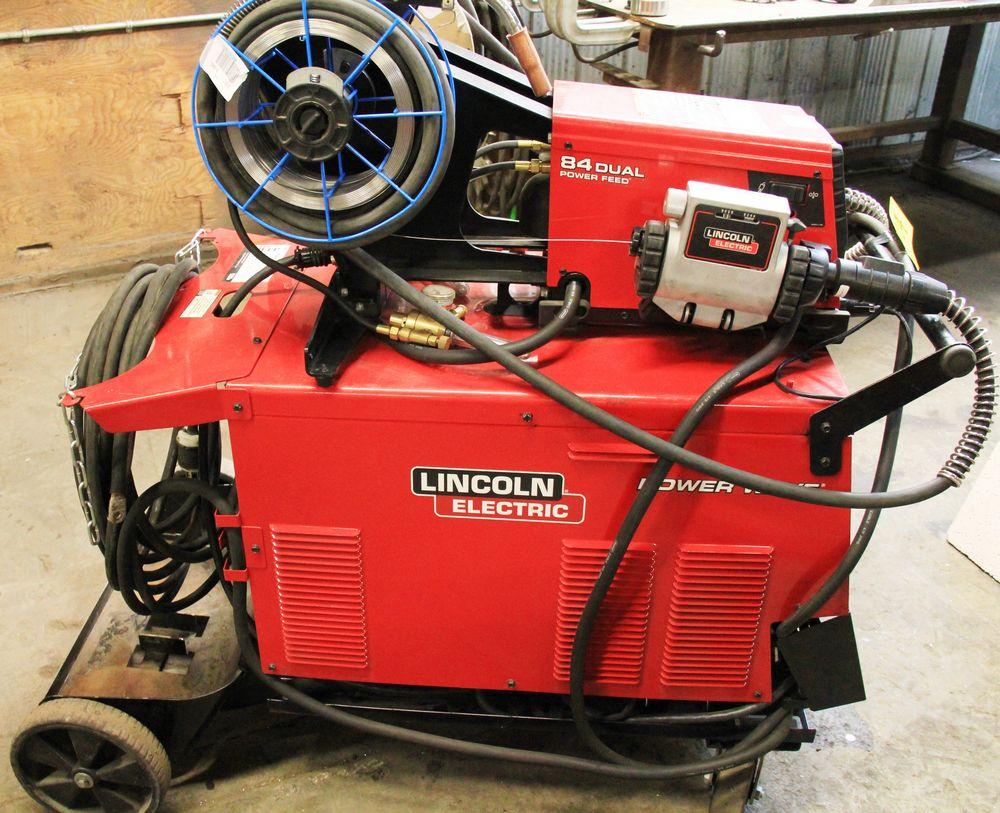 Lot 24 - LINCOLN POWERWAVE 455M/STT ELECTRIC WELDER, C/W LINCOLN 84 DUAL POWER FEED WIRE FEEDER, DIGITAL