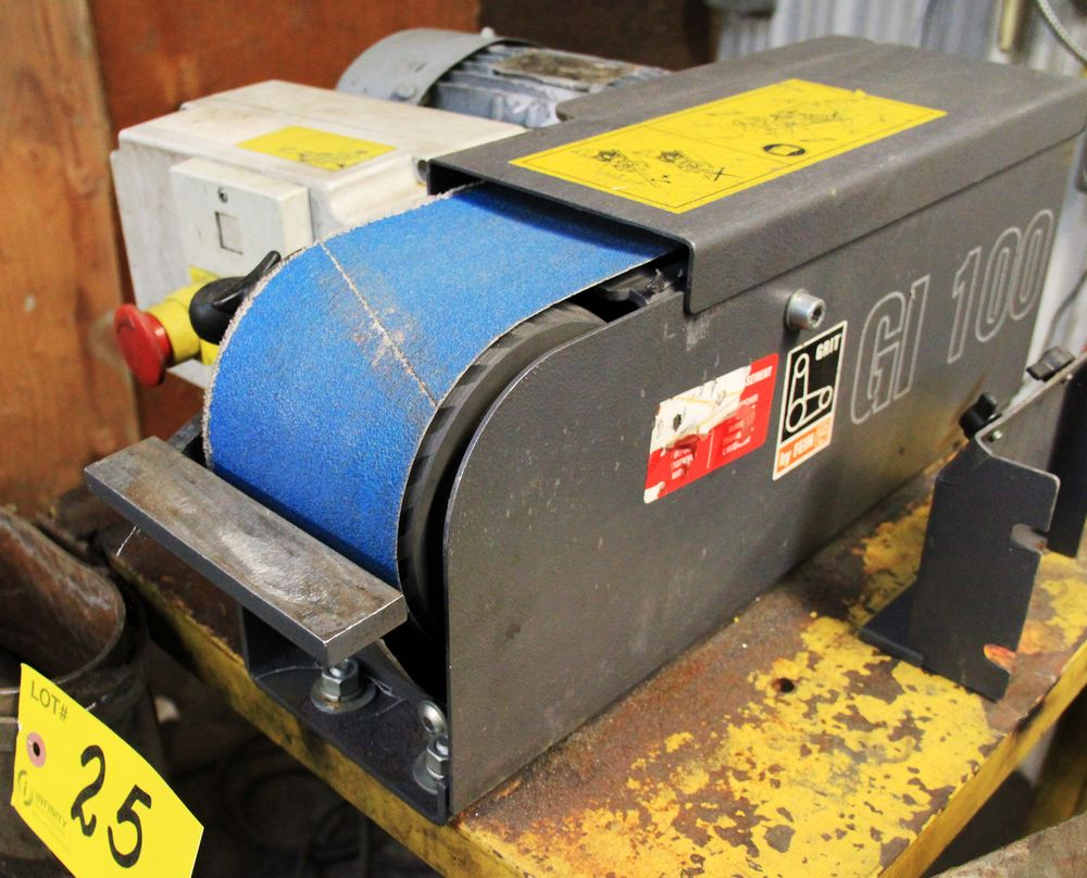 "Lot 25 - FEIN GI-100 HORIZONTAL 4"" WIDE BELT SANDER C/W ELECTRIC MOTOR AND STAND"