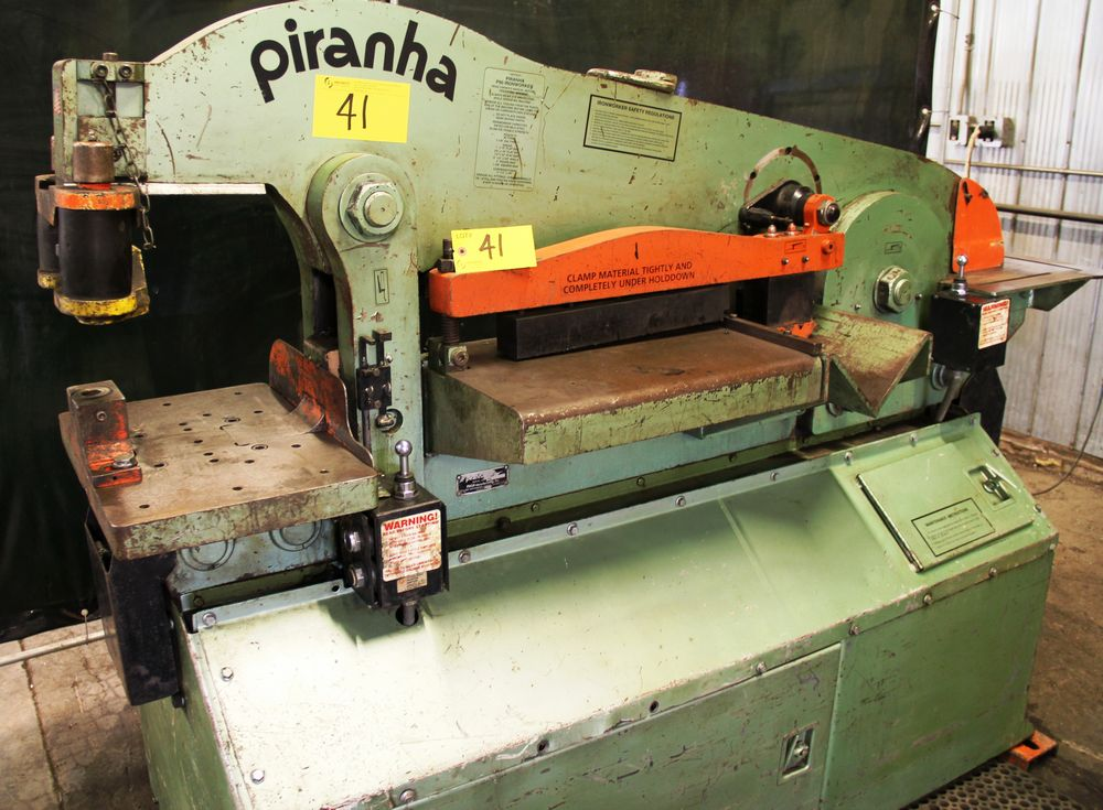 "Lot 41 - PIRANHA P90 HYDRAULIC IRONWORKER, 60,000 PSI TENSILE STRENGTH, 90 TON CAPACITY, 1"" X 12"" FLAT BAR,"