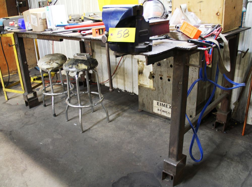 """Lot 58 - 4' X 8' LONG STEEL WORK BENCH C/W RECORD 8"""" BENCH VISE"""
