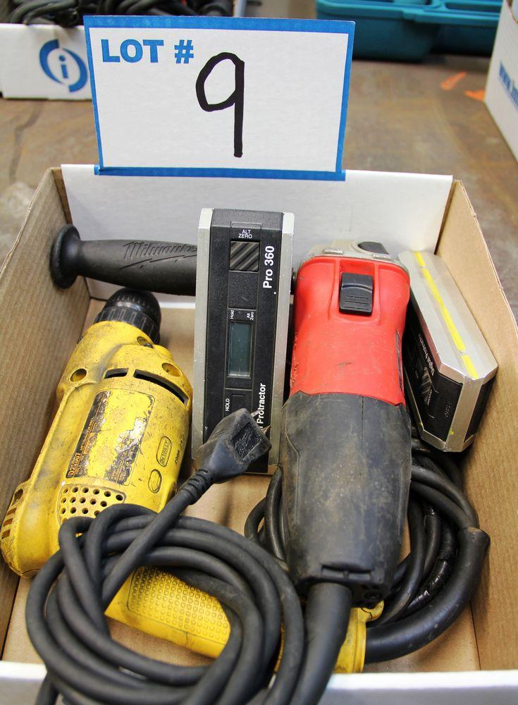 Lot 9 - MILWAUKEE 6130-33 DISC GRINDER, DEWALT ELECTRIC DRILL, (2) PRO 360 DIGITAL PROTRACTORS