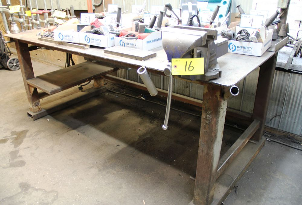 """Lot 16 - 4' X 8' STEEL WORK TABLE C/W RECORD 8"""" BENCH VISE & OVERHEAD LIGHTS"""