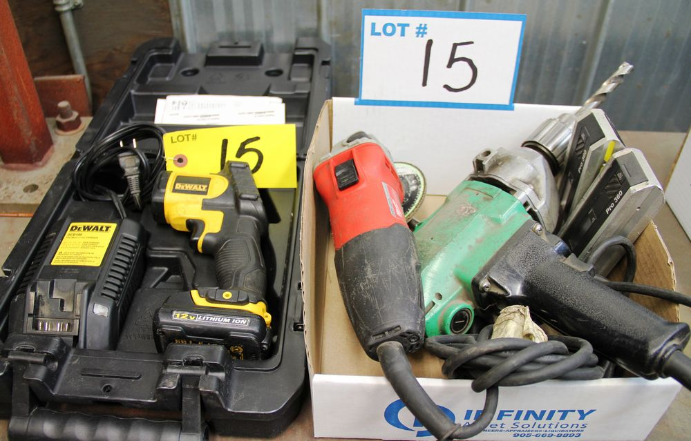 "Lot 15 - MILWAUKEE 6130-33 DISC GRINDER, HITACHI ELECTRIC 1/2"" DRILL, (2) PRO 360 DIGITAL PROTRACTORS, DEWALT"