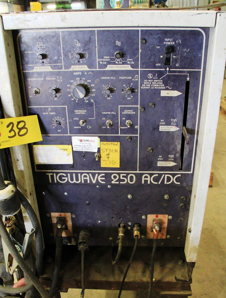 Lot 38 - HOBART TIGWAVE 250 AC/DC ELECTRIC WELDER, LEADS MOUNTED ON CART
