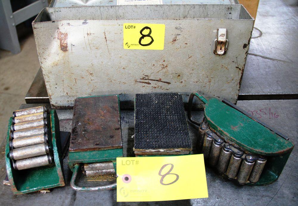 Lot 8 - SET OF HILMAN 3 TON CAPACITY TRITON RIGGERS ROLLER SET MACHINERY DOLLIES C/W CART