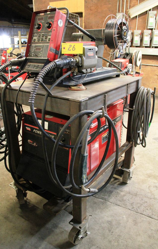 Lot 26 - LINCOLN POWERWAVE 455M/STT ELECTRIC POWERED WELDER, C/W LINCOLN POWER FEED 10M DUAL FEED WIRE