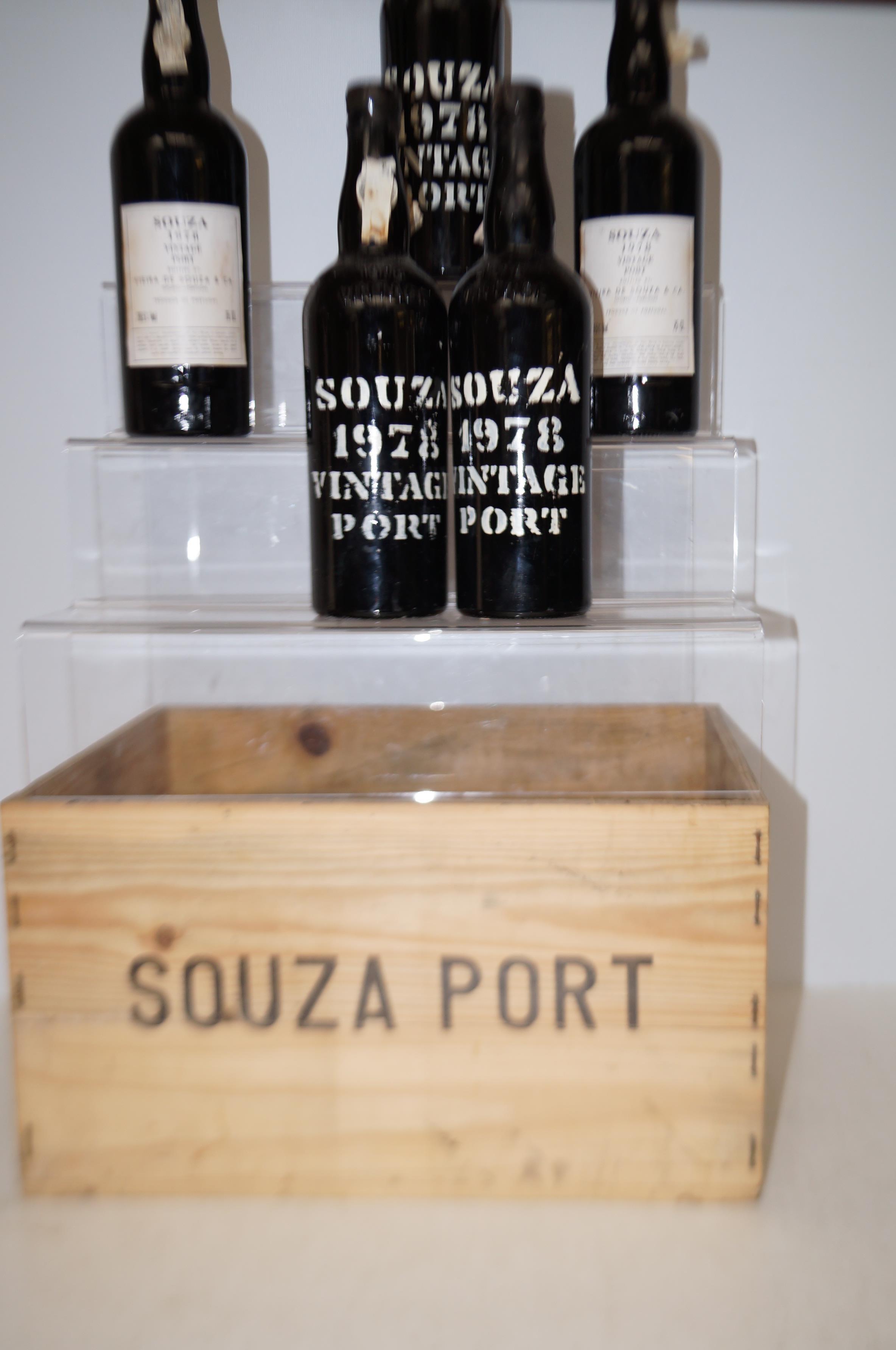 Lot 284 - 5 Bottles of Vintage Souza 1978 with original wood