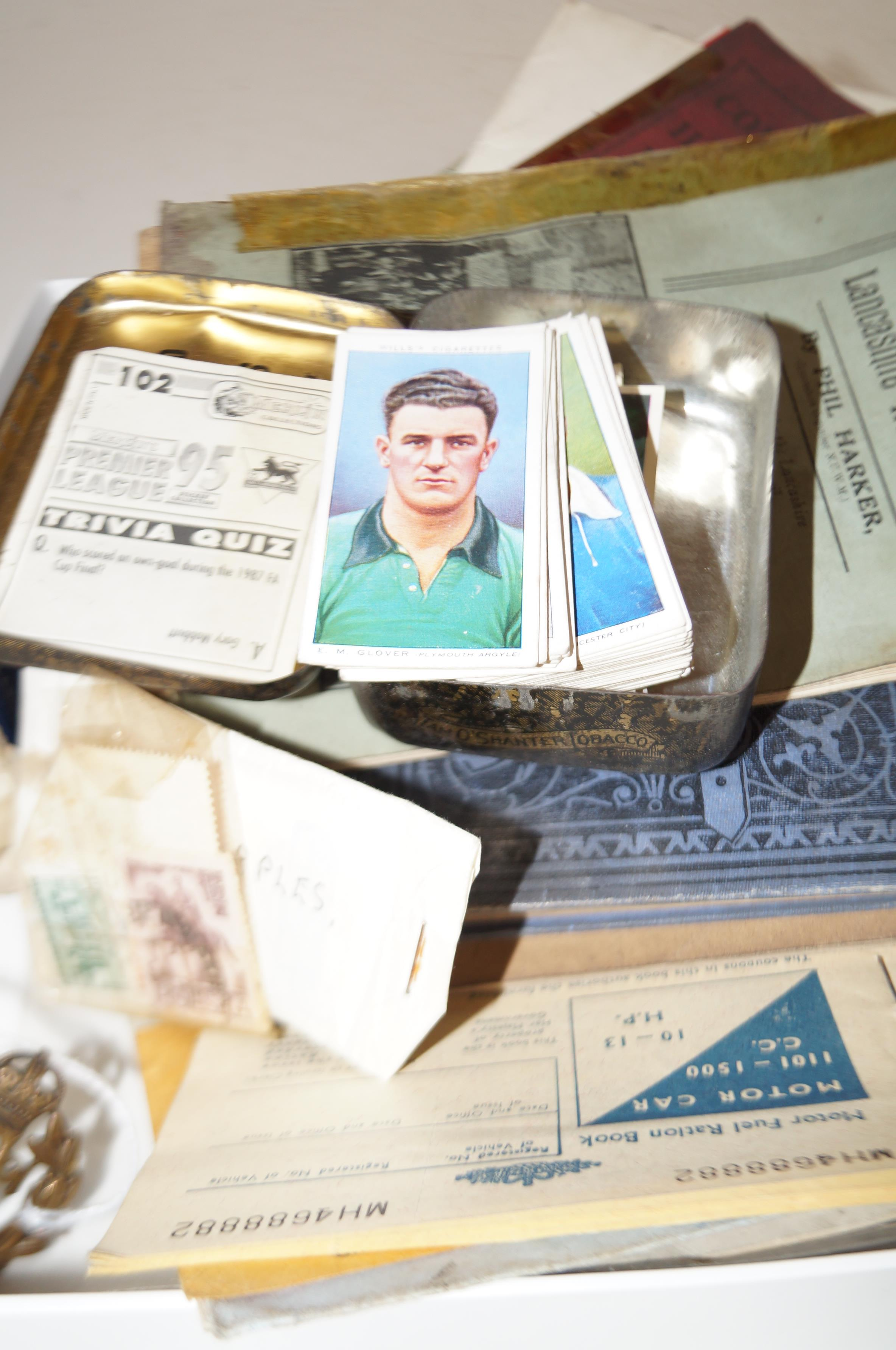 Lot 308 - Box of ephemera to include cigarette cards