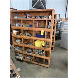ASSORTED SHELVING AND CONTENTS OF FASTENERS, AIR FITTINGS, BEARINGS, AND PARTS