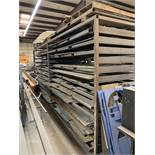 CUSTOM MATERIAL RACK WITH REMOVABLE SHELVES AND STEEL STOCK ON RACK