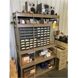 SHELF OF ASSORTED TOOL TABLE ACCESSORIES