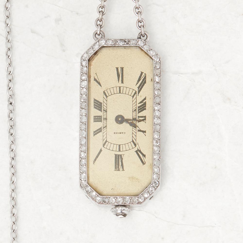 Lot 11 - Cartier Platinum Diamond Set Rare Vintage Brooch Watch