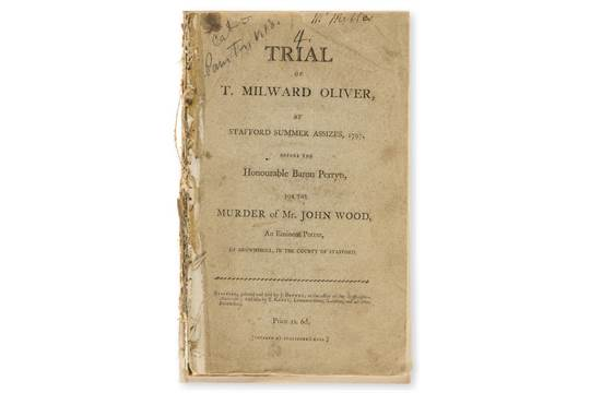 Trials - Murder - Trial of T  Milward Oliver, at Stafford