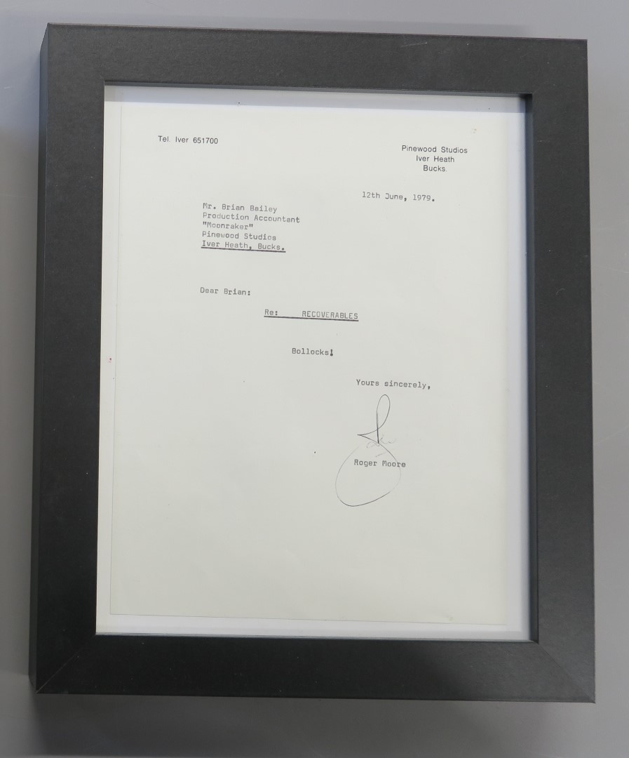 Lot 33 - Roger Moore signed letter to Brian Bailey,