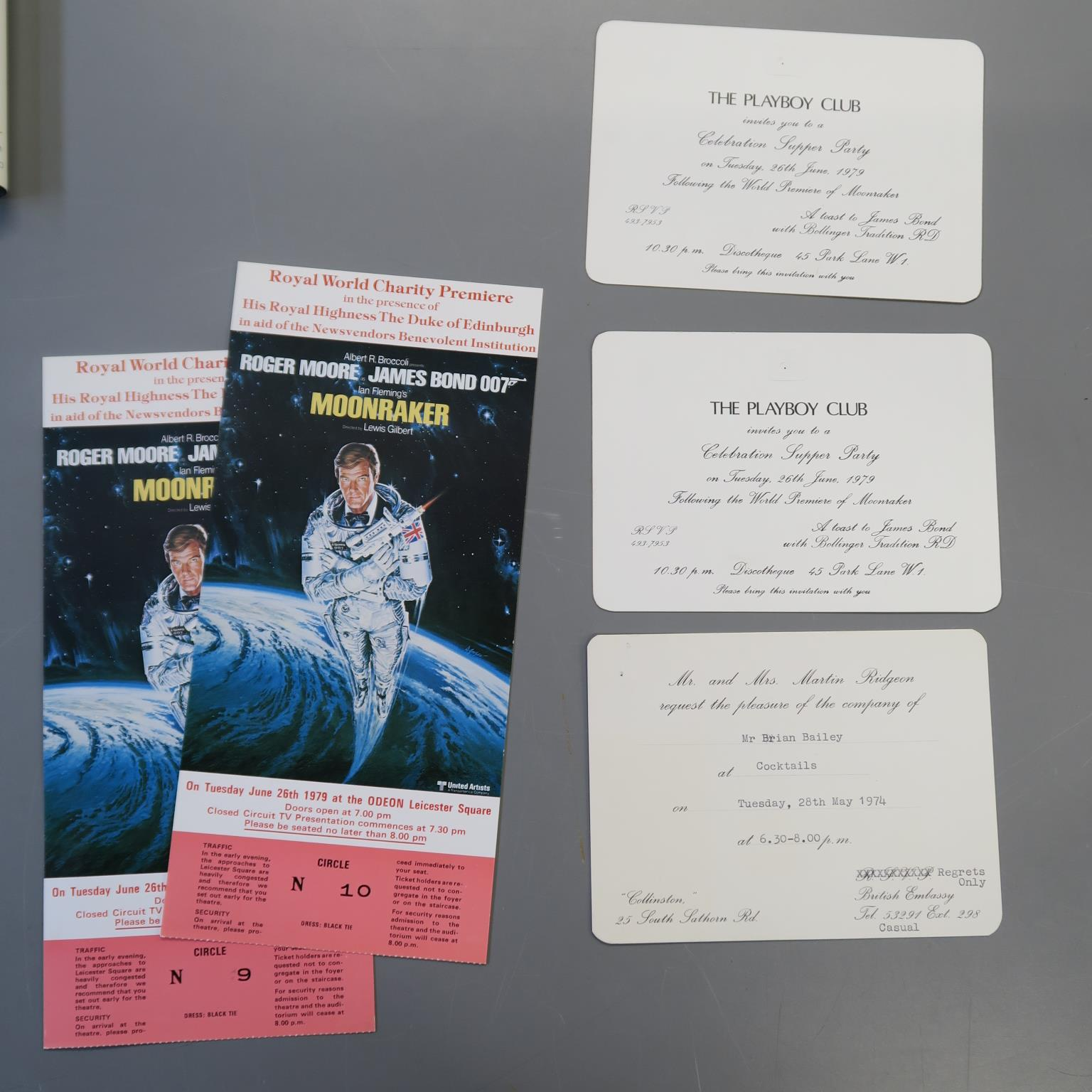 Lot 20 - JAMES BOND 007 : Moonraker 1979 two invitations for the Playboy club celebration supper party on