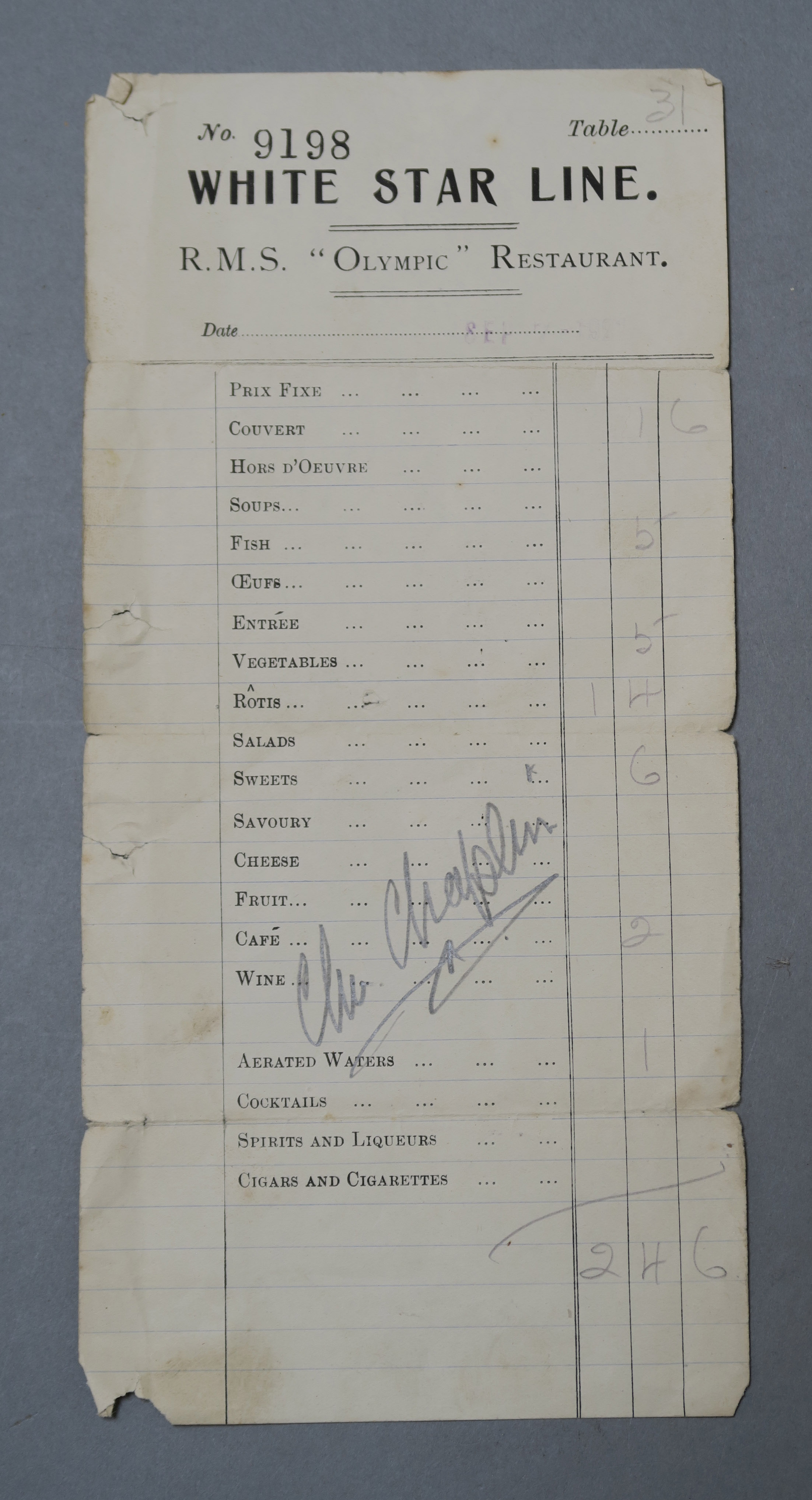 Lot 12 - Charlie Chaplin original autograph signed in pencil on White Star Line RMS Olympic Cruise Ship