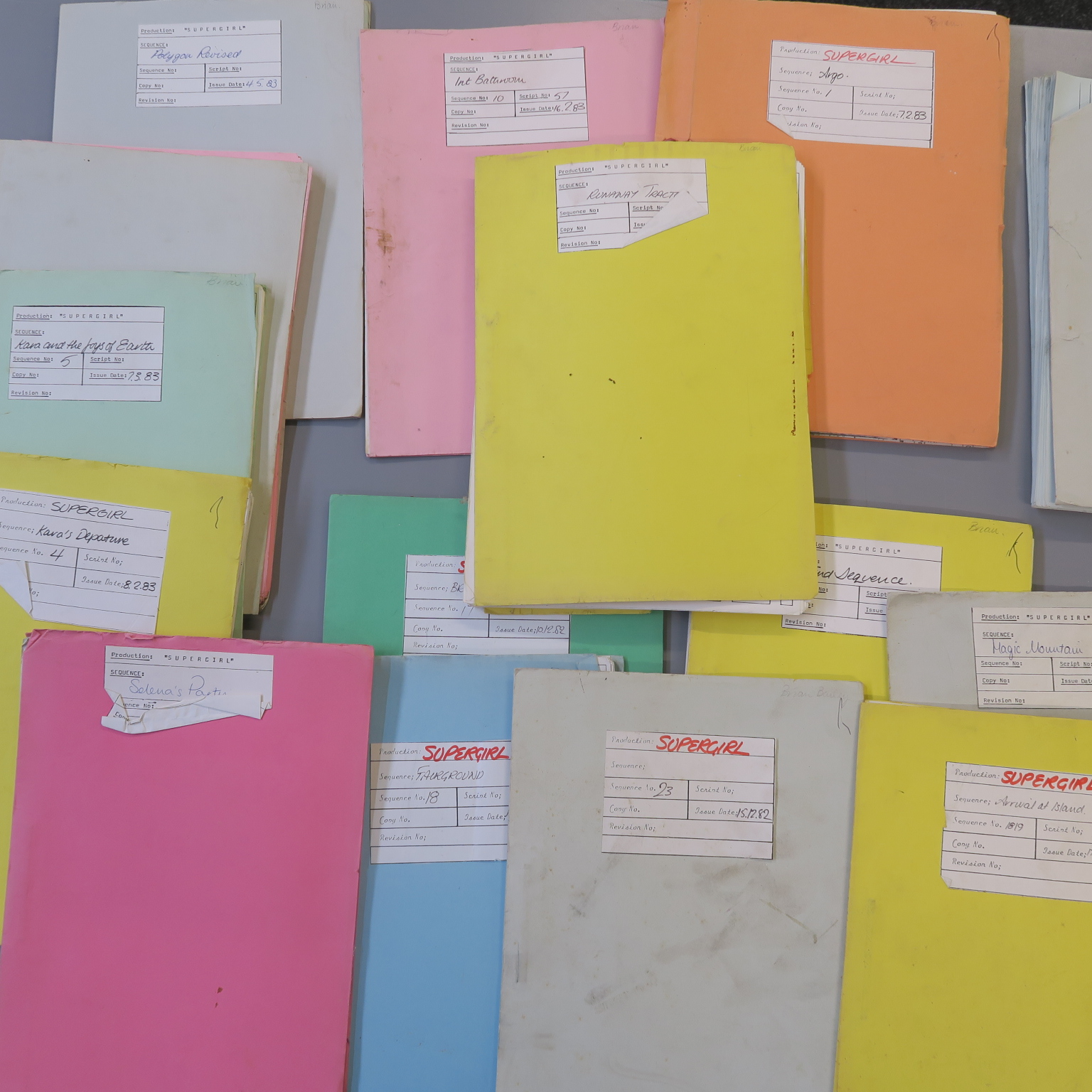 Lot 36 - Supergirl original mimeographed production storyboards in titled folders dated from 1982 to 1983