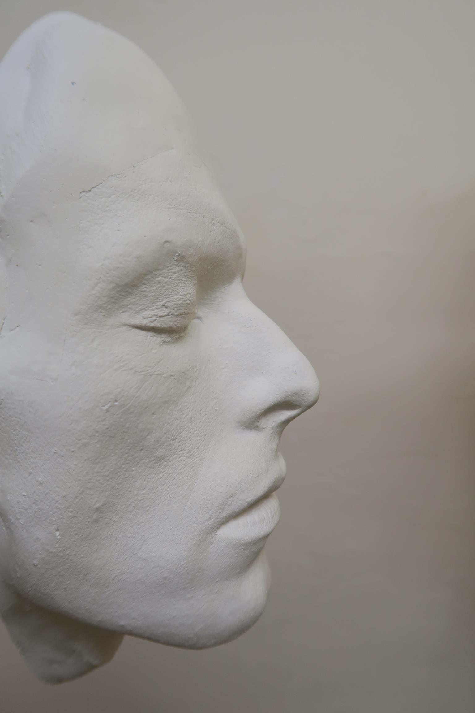 Lot 46 - David Bowie life mask dated 2016 and signed by the maker in blue felt to reverse,