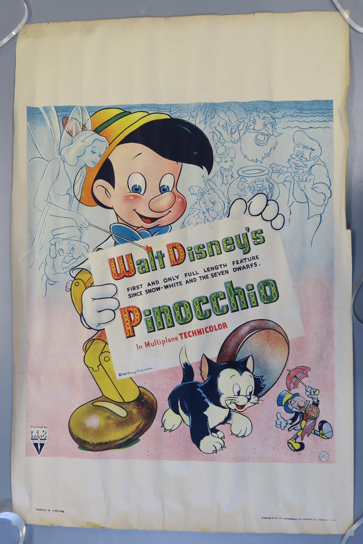 Lot 105A - Pinocchio (1940) Walt Disney Productions extremely rare first release British double crown film