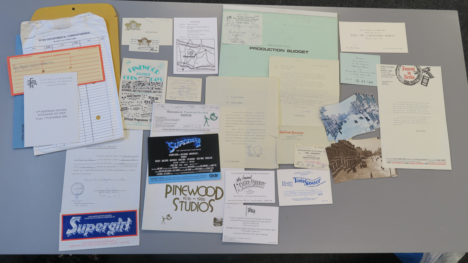 Lot 25 - Collection of Pinewood studio production memorabilia including Premiere tickets for Supergirl,