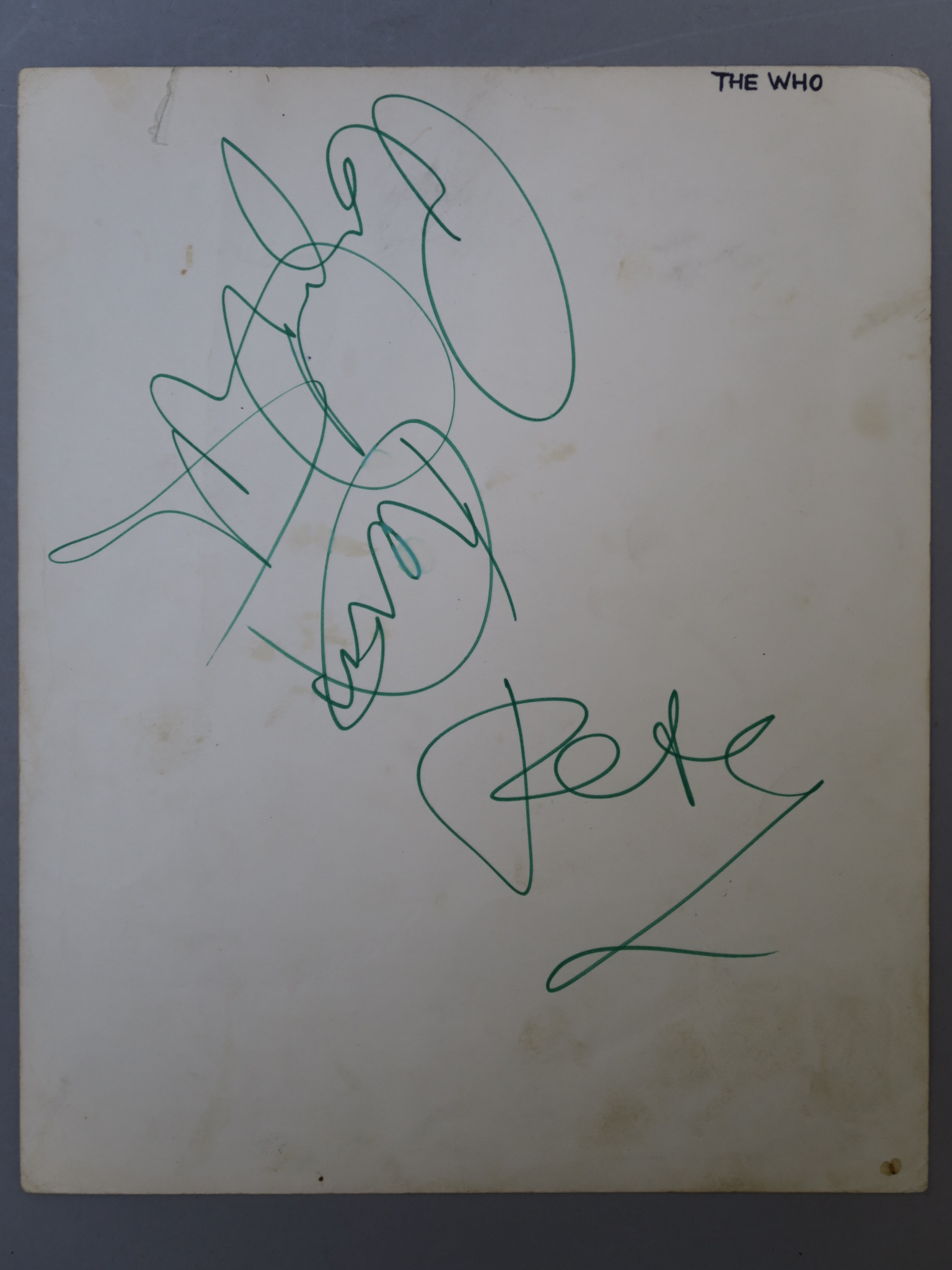 Lot 6 - The Who original autographs from Pete Townshend, Keith Moon and Roger Daltrey.