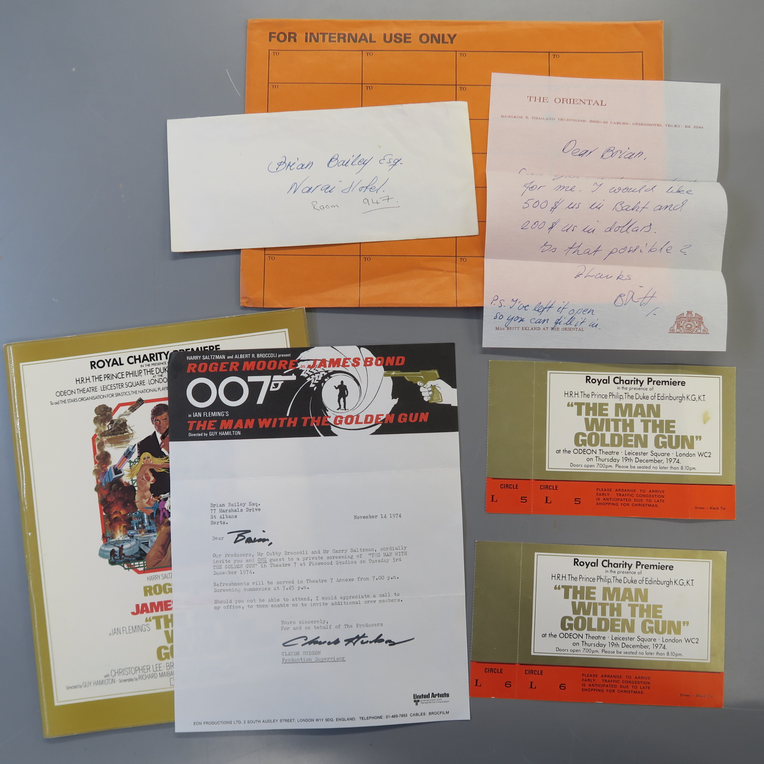 Lot 22 - JAMES BOND 007 : Man with the Golden Gun (1974) letter to Brian Bailey from Claude Hudson
