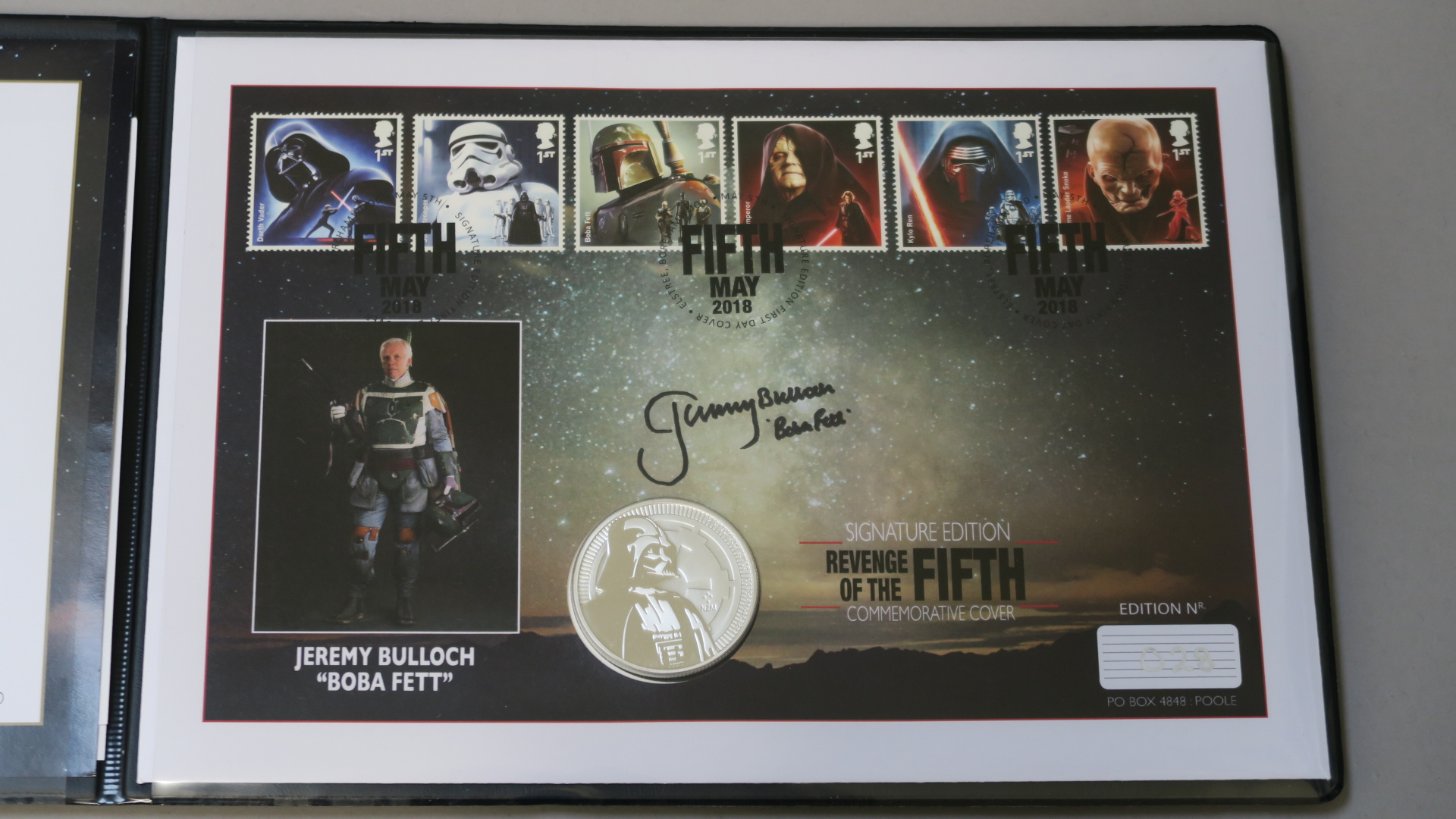 Lot 2 - Star Wars limited edition 1oz silver bullion Darth Vader coin from Westminster with Jeremy Bulloch