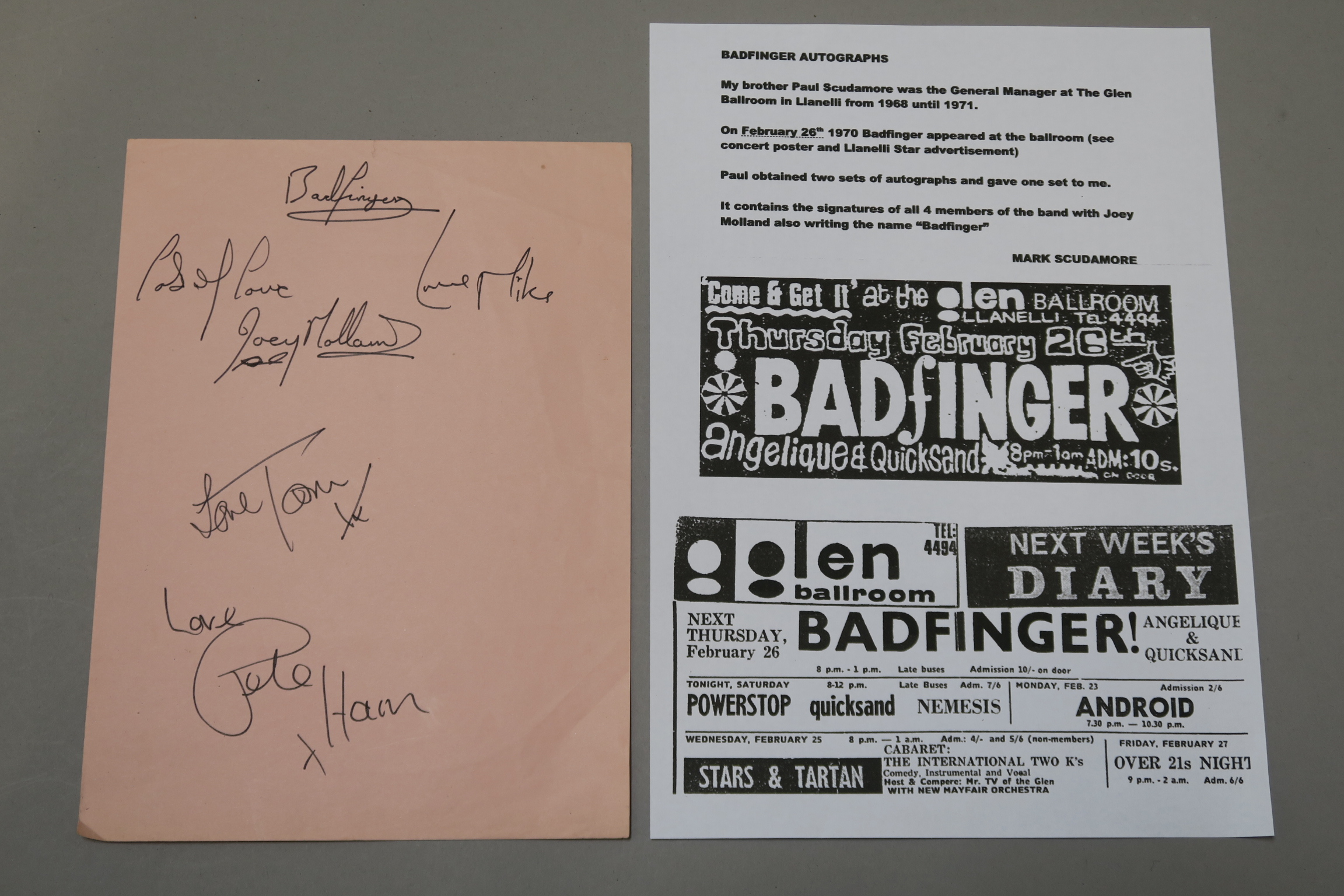 Lot 10 - Badfinger autographs obtained from the Glen Ballroom on February 26th 1970.