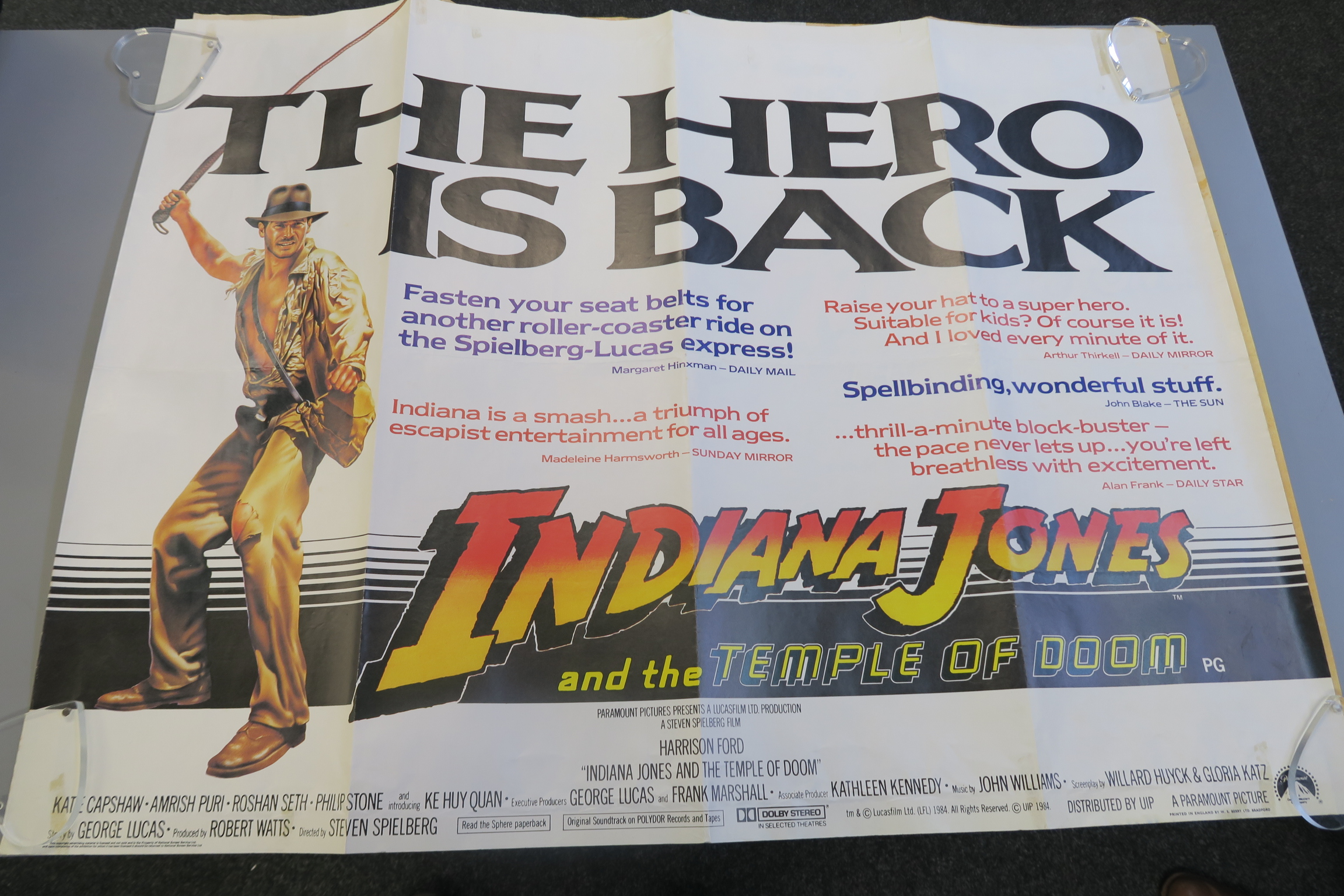 Lot 99B - Indiana Jones and the Last crusade British Quad film poster with Indiana Jones and the Temple of