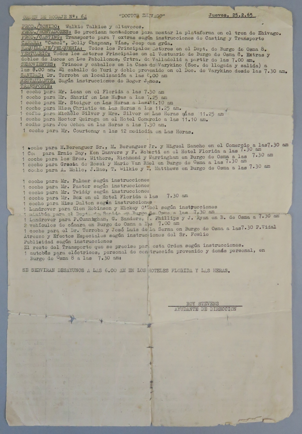 """Lot 4 - """"Doctor Zhivago"""" original Call Sheet no 64 dating from 25th February 1965 for the filming in Spain,"""