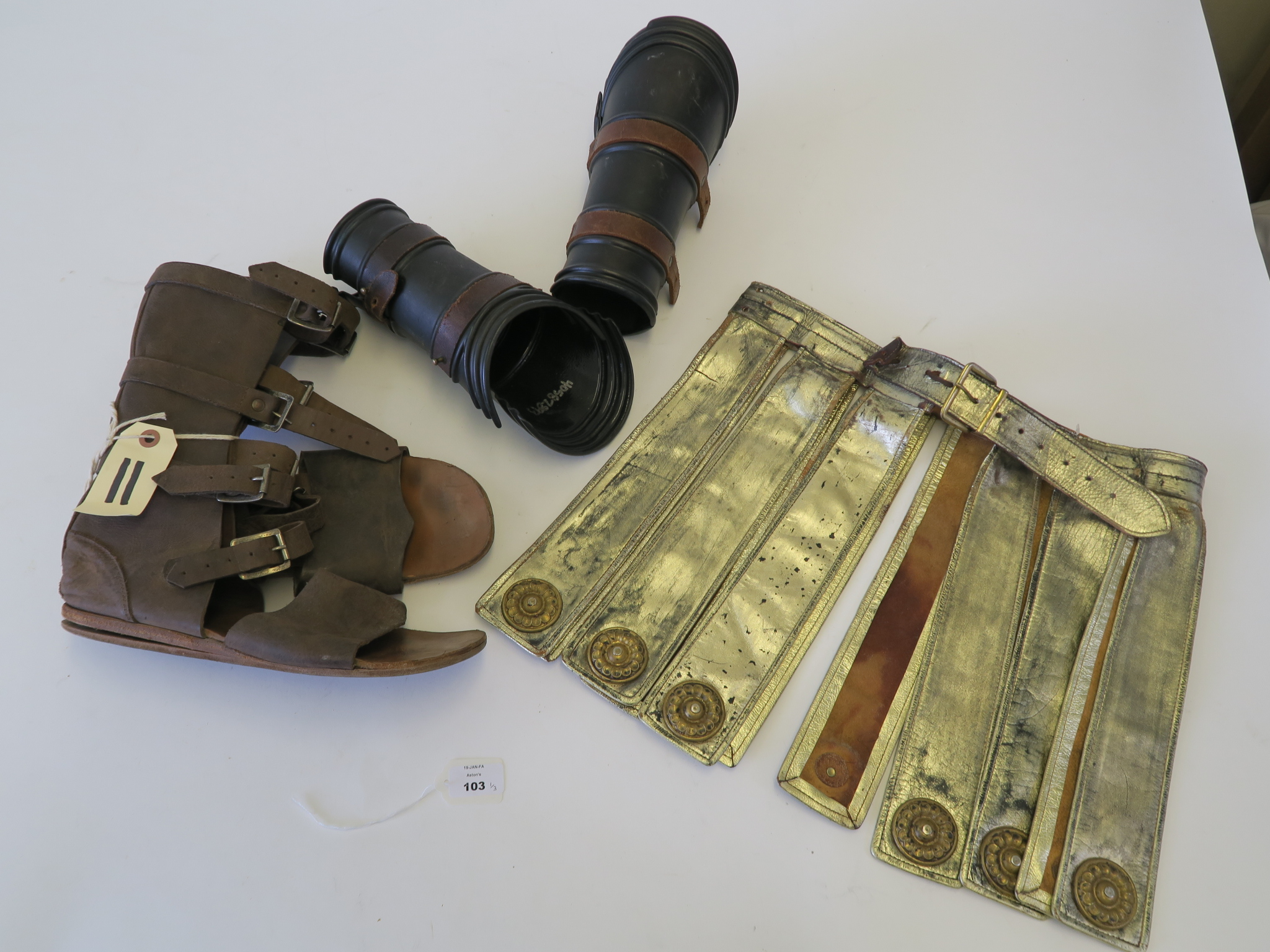 Lot 52 - Roman style movie costume including leather adjustable gold coloured belted skirt with Western