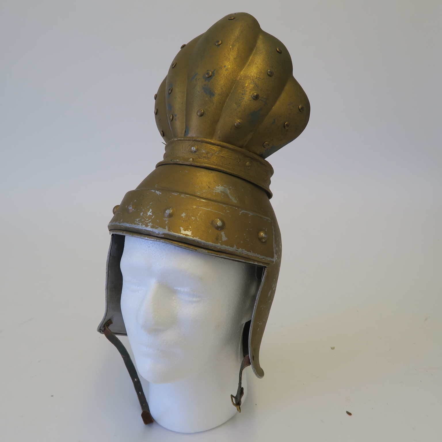 Lot 41 - Flash Gordon 1930s TV serial gold helmet used in many productions including Robin Hood and The