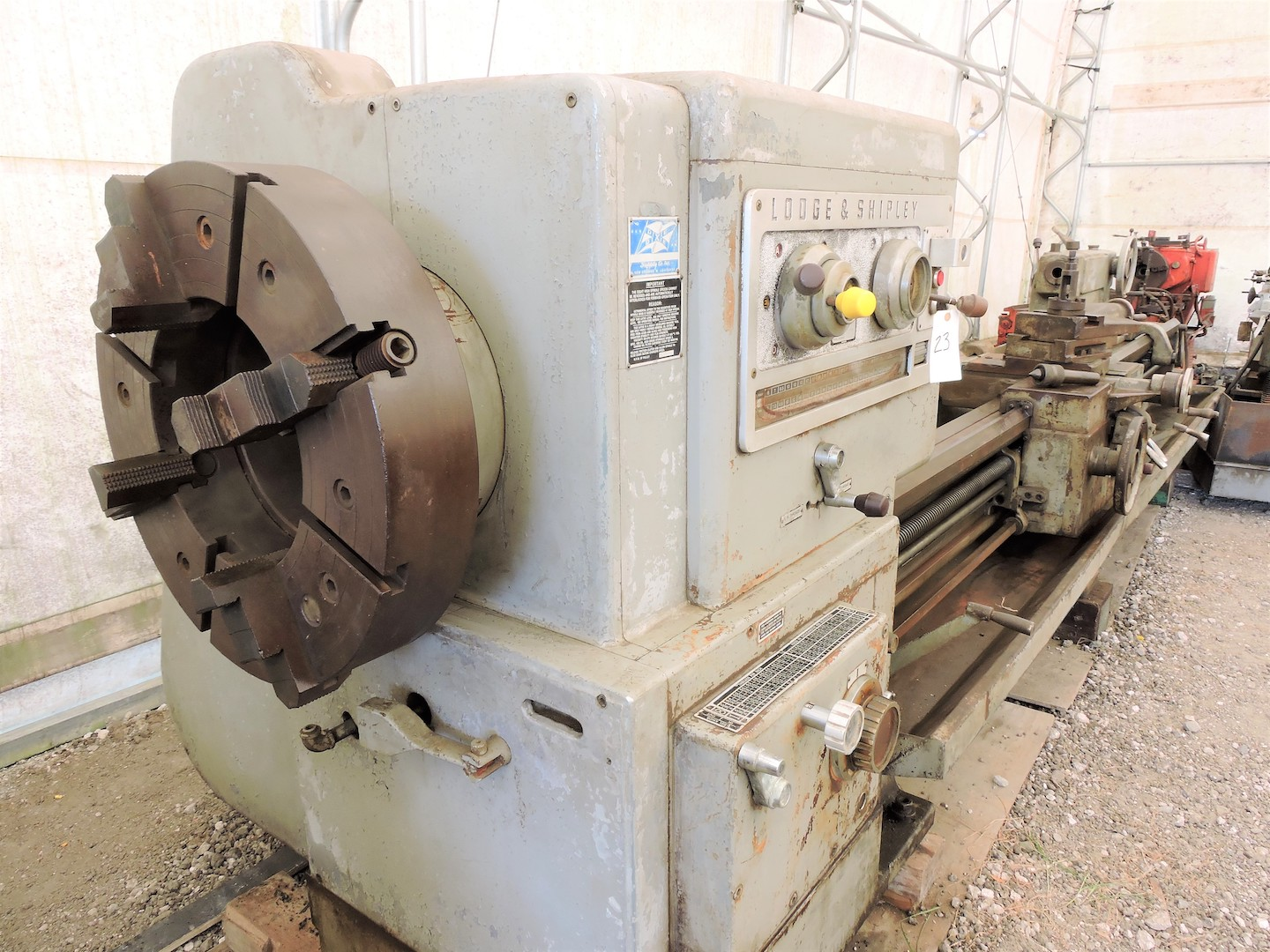 "Lot 1 - LODGE & SHIPLEY 30"" X 120"" MODEL 2516 BIG BORE ENGINE LATHE: S/N 46225 (1965); OIL COUNTRY; FRONT"